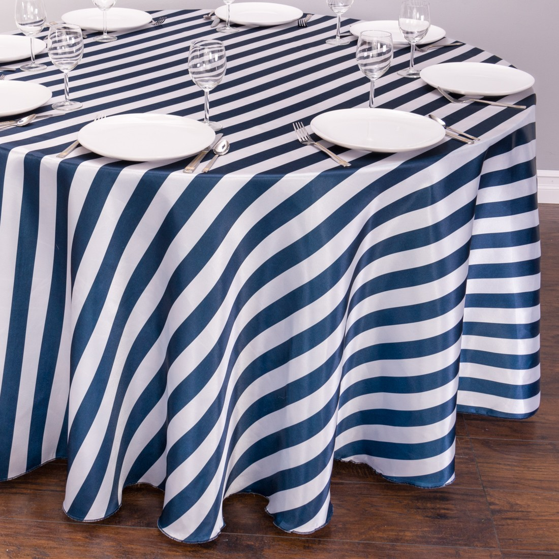 Striped Satin Tablecloth Round   Navy Blue U0026 White | The Pretty Prop Shop  Wedding And Event Hire